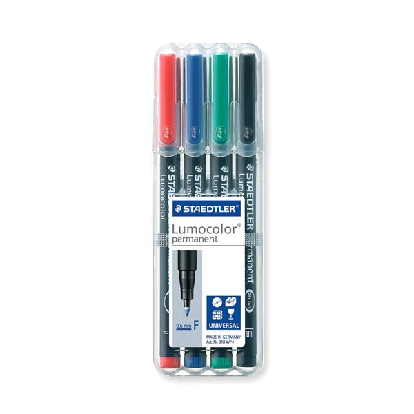 Staedtler Fine Point Lumocolor Overhead Projection Markers - 4 Colors