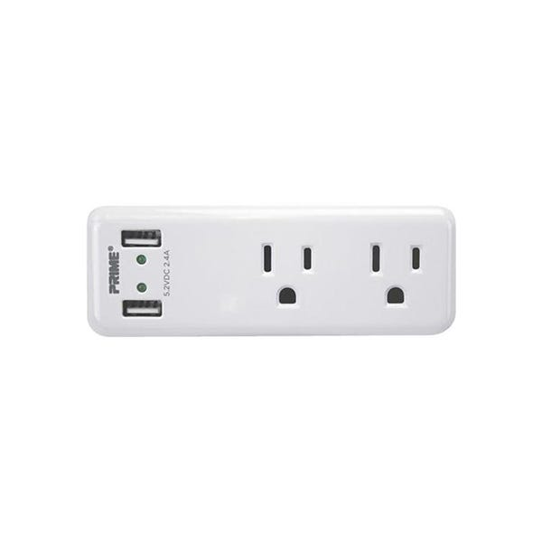 Prime PBUSB242 2-Outlet 2-Port 2.4A USB Charger - White
