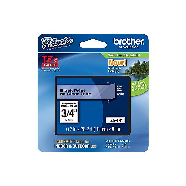 """Brother 3/4"""" P-Touch TZe Label Tape with Black Letters - Clear"""