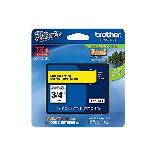 """Brother 3/4"""" P-Touch TZe Label Tape with Black Letters - Yellow"""